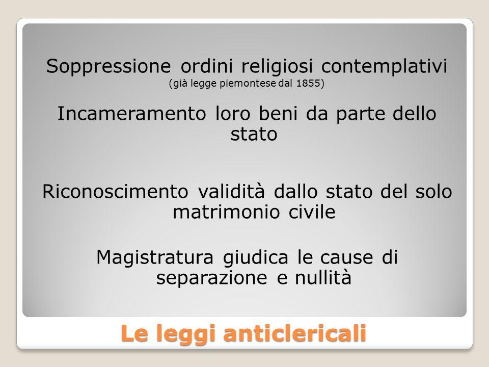 Le leggi anticlericali Soppressione ordini religiosi contemplativi (già legge piemontese dal 1855) Incameramento loro beni da parte dello stato Ricono