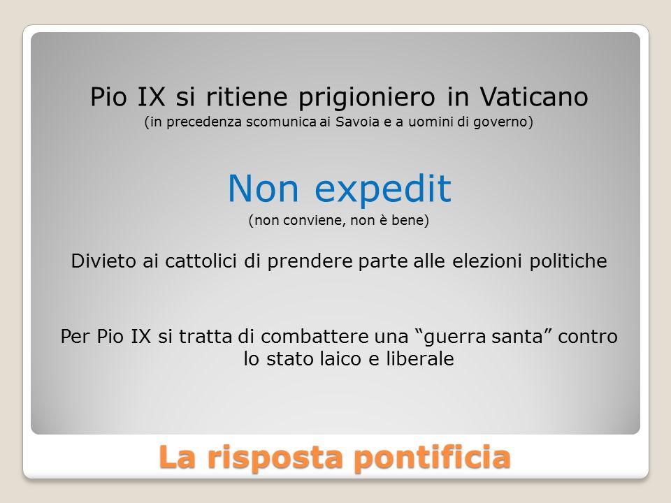 La risposta pontificia Pio IX si ritiene prigioniero in Vaticano (in precedenza scomunica ai Savoia e a uomini di governo) Non expedit (non conviene, non è bene) Divieto ai cattolici di prendere parte alle elezioni politiche Per Pio IX si tratta di combattere una guerra santa contro lo stato laico e liberale