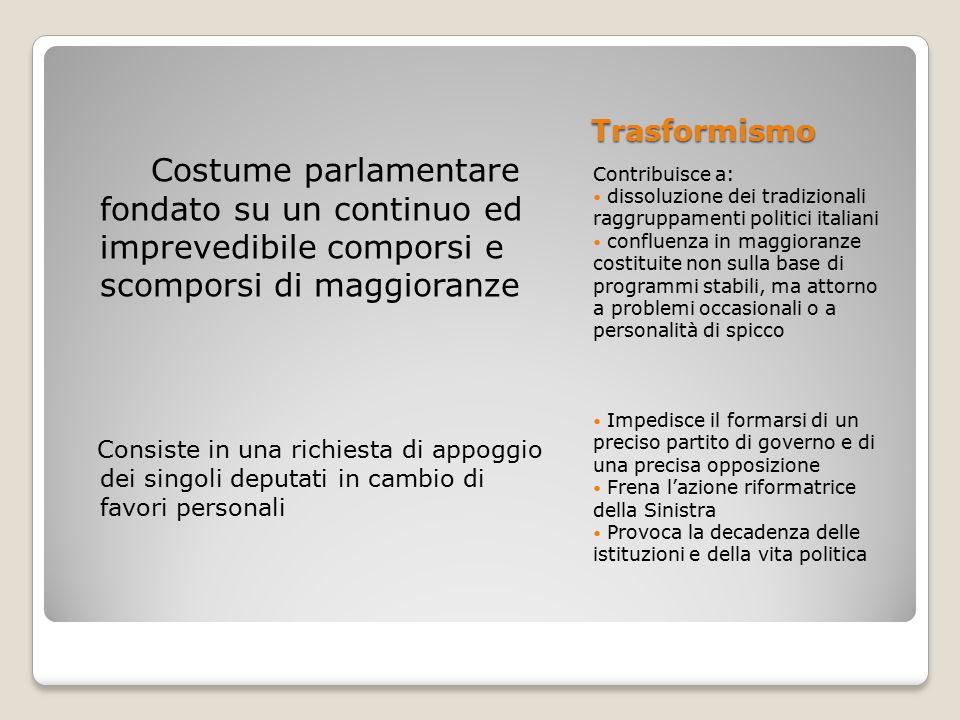 Trasformismo Contribuisce a: dissoluzione dei tradizionali raggruppamenti politici italiani confluenza in maggioranze costituite non sulla base di pro