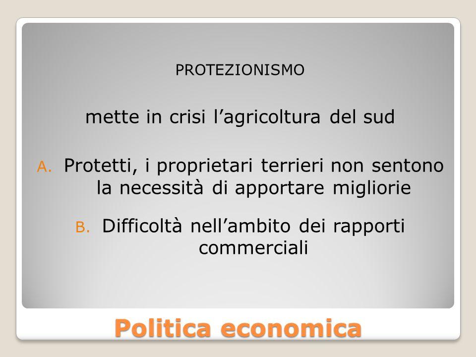 Politica economica PROTEZIONISMO mette in crisi l'agricoltura del sud A.