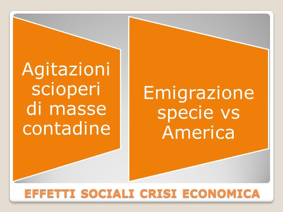 EFFETTI SOCIALI CRISI ECONOMICA Agitazioni scioperi di masse contadine Emigrazione specie vs America