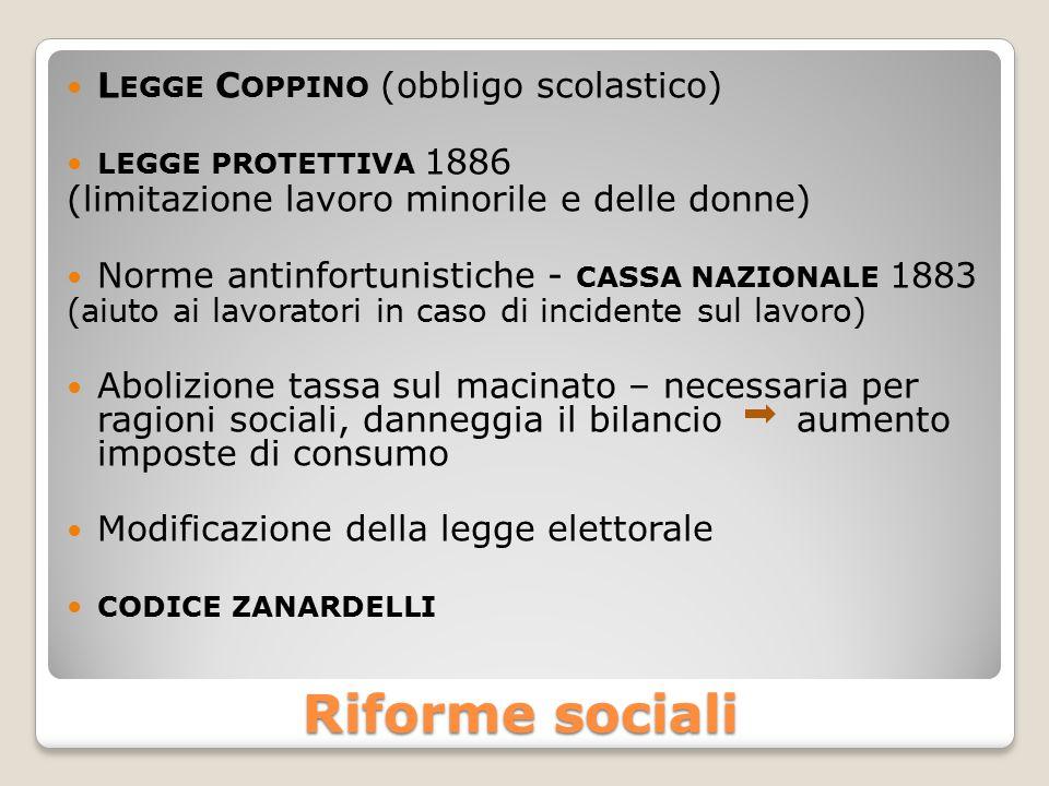 Riforme sociali L EGGE C OPPINO (obbligo scolastico) LEGGE PROTETTIVA 1886 (limitazione lavoro minorile e delle donne) Norme antinfortunistiche - CASS