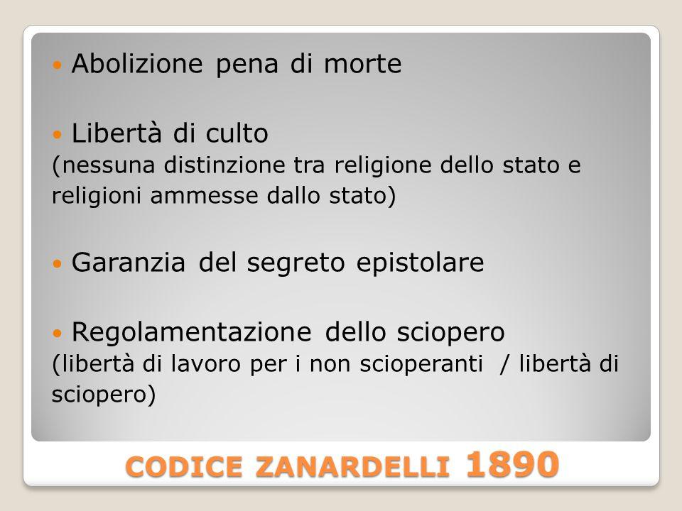 CODICE ZANARDELLI 1890 Abolizione pena di morte Libertà di culto (nessuna distinzione tra religione dello stato e religioni ammesse dallo stato) Garanzia del segreto epistolare Regolamentazione dello sciopero (libertà di lavoro per i non scioperanti / libertà di sciopero)