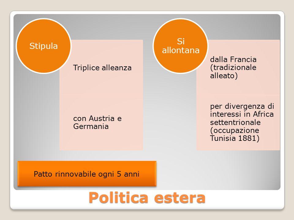Politica estera Triplice alleanza con Austria e Germania Stipula dalla Francia (tradizionale alleato) per divergenza di interessi in Africa settentrionale (occupazione Tunisia 1881) Si allontana Patto rinnovabile ogni 5 anni