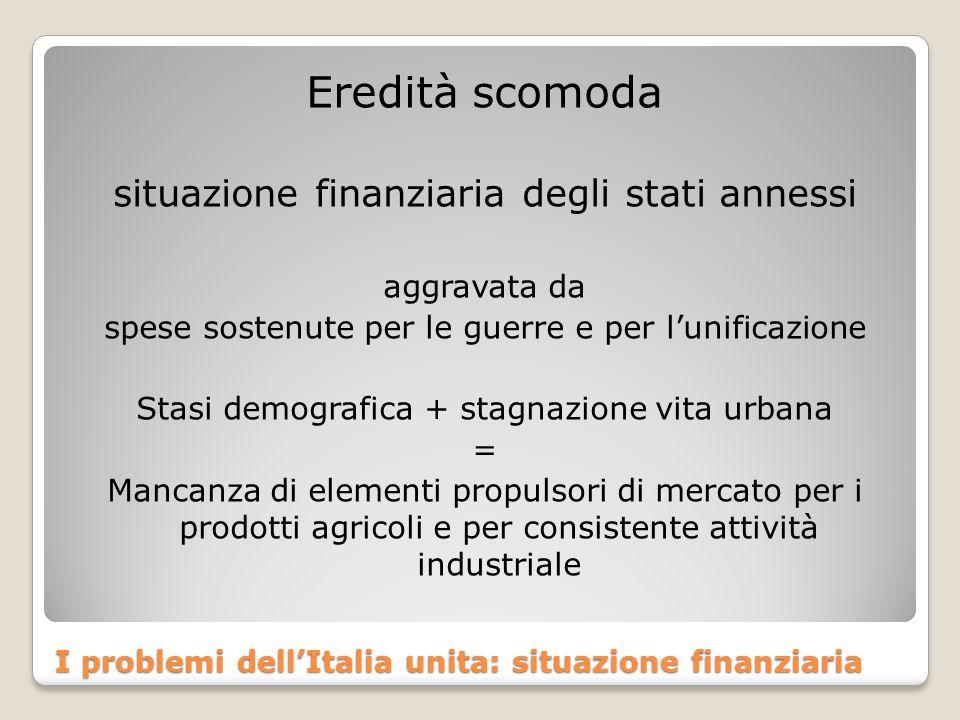I problemi dell'Italia unita: situazione finanziaria Eredità scomoda situazione finanziaria degli stati annessi aggravata da spese sostenute per le guerre e per l'unificazione Stasi demografica + stagnazione vita urbana = Mancanza di elementi propulsori di mercato per i prodotti agricoli e per consistente attività industriale