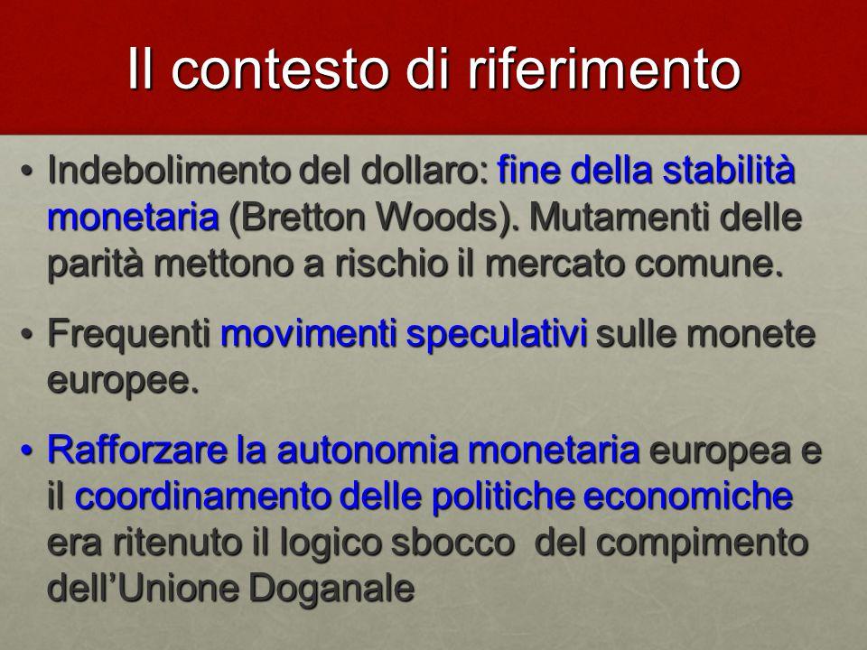 Il contesto di riferimento Indebolimento del dollaro: fine della stabilità monetaria (Bretton Woods).