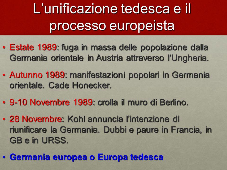 L'unificazione tedesca e il processo europeista Estate 1989: fuga in massa delle popolazione dalla Germania orientale in Austria attraverso l'Ungheria.