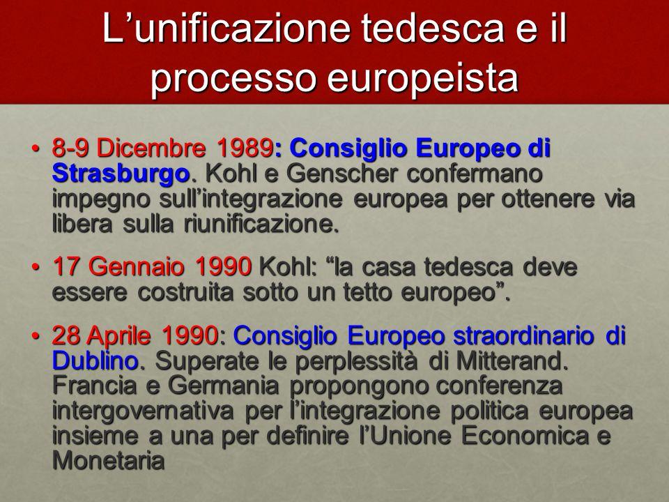 L'unificazione tedesca e il processo europeista 8-9 Dicembre 1989: Consiglio Europeo di Strasburgo.
