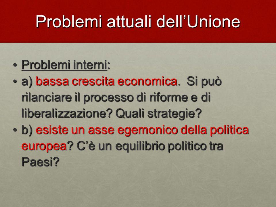Problemi attuali dell'Unione Problemi interni: Problemi interni: a) bassa crescita economica.