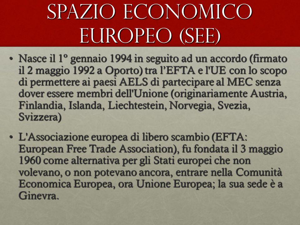SPAZIO ECONOMICO EUROPEO (SEE) Nasce il 1º gennaio 1994 in seguito ad un accordo (firmato il 2 maggio 1992 a Oporto) tra l'EFTA e l UE con lo scopo di permettere ai paesi AELS di partecipare al MEC senza dover essere membri dell Unione (originariamente Austria, Finlandia, Islanda, Liechtestein, Norvegia, Svezia, Svizzera)Nasce il 1º gennaio 1994 in seguito ad un accordo (firmato il 2 maggio 1992 a Oporto) tra l'EFTA e l UE con lo scopo di permettere ai paesi AELS di partecipare al MEC senza dover essere membri dell Unione (originariamente Austria, Finlandia, Islanda, Liechtestein, Norvegia, Svezia, Svizzera) L Associazione europea di libero scambio (EFTA: European Free Trade Association), fu fondata il 3 maggio 1960 come alternativa per gli Stati europei che non volevano, o non potevano ancora, entrare nella Comunità Economica Europea, ora Unione Europea; la sua sede è a Ginevra.L Associazione europea di libero scambio (EFTA: European Free Trade Association), fu fondata il 3 maggio 1960 come alternativa per gli Stati europei che non volevano, o non potevano ancora, entrare nella Comunità Economica Europea, ora Unione Europea; la sua sede è a Ginevra.