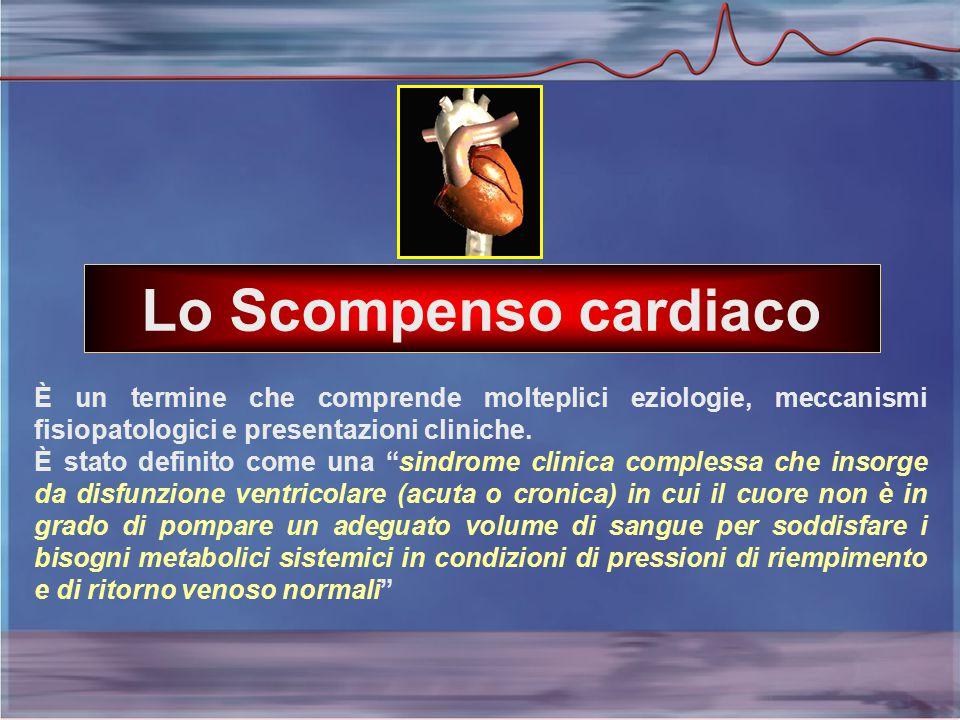 Lo Scompenso cardiaco È un termine che comprende molteplici eziologie, meccanismi fisiopatologici e presentazioni cliniche.