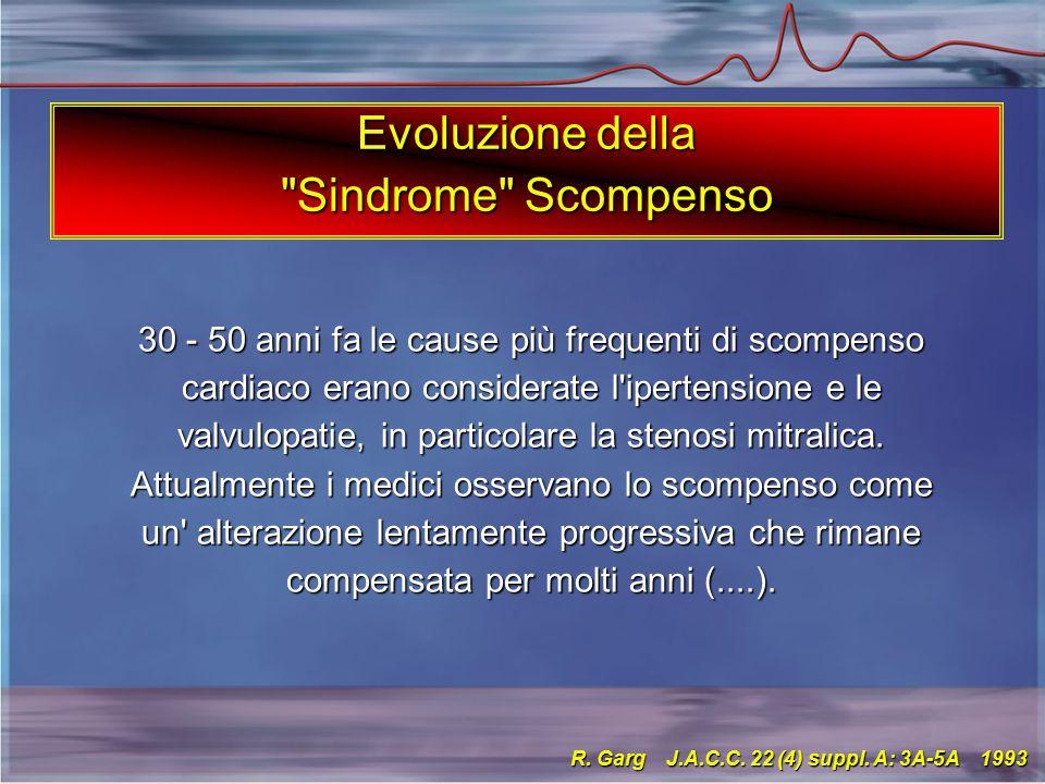 30 - 50 anni fa le cause più frequenti di scompenso cardiaco erano considerate l ipertensione e le valvulopatie, in particolare la stenosi mitralica.