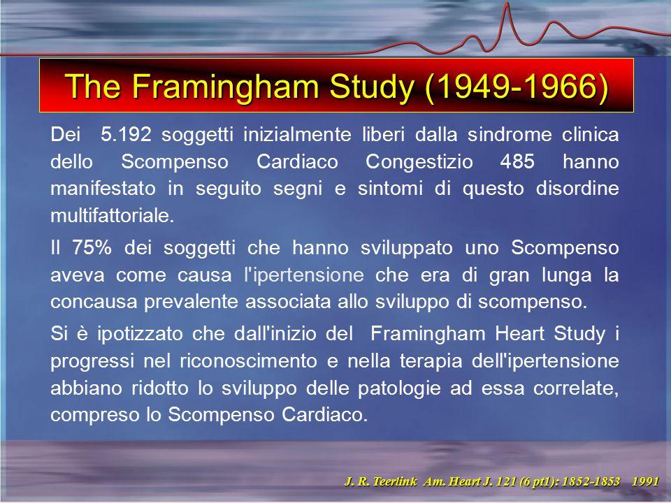 The Framingham Study (1949-1966) Dei 5.192 soggetti inizialmente liberi dalla sindrome clinica dello Scompenso Cardiaco Congestizio 485 hanno manifestato in seguito segni e sintomi di questo disordine multifattoriale.
