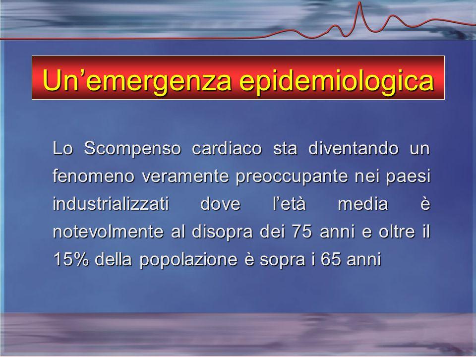 Un'emergenza epidemiologica Lo Scompenso cardiaco sta diventando un fenomeno veramente preoccupante nei paesi industrializzati dove l'età media è notevolmente al disopra dei 75 anni e oltre il 15% della popolazione è sopra i 65 anni