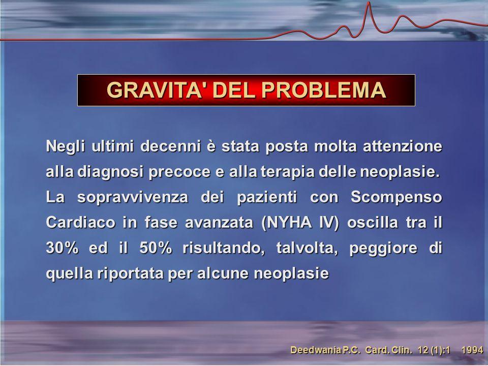 GRAVITA DEL PROBLEMA Negli ultimi decenni è stata posta molta attenzione alla diagnosi precoce e alla terapia delle neoplasie.