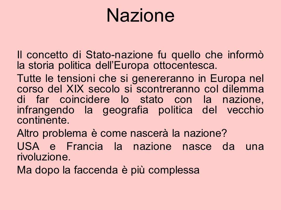 Nazione Il concetto di Stato-nazione fu quello che informò la storia politica dell'Europa ottocentesca. Tutte le tensioni che si genereranno in Europa