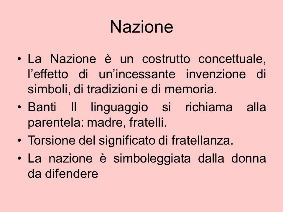 Nazione La Nazione è un costrutto concettuale, l'effetto di un'incessante invenzione di simboli, di tradizioni e di memoria. Banti Il linguaggio si ri