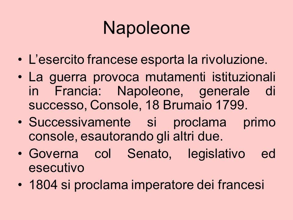 Napoleone L'esercito francese esporta la rivoluzione. La guerra provoca mutamenti istituzionali in Francia: Napoleone, generale di successo, Console,