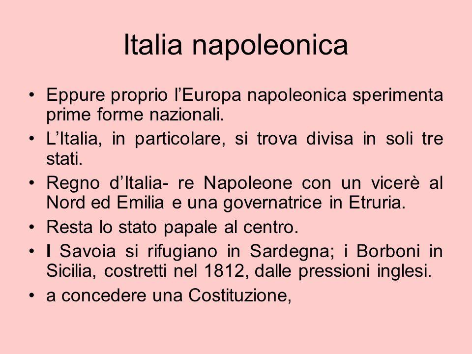 Italia napoleonica Eppure proprio l'Europa napoleonica sperimenta prime forme nazionali. L'Italia, in particolare, si trova divisa in soli tre stati.