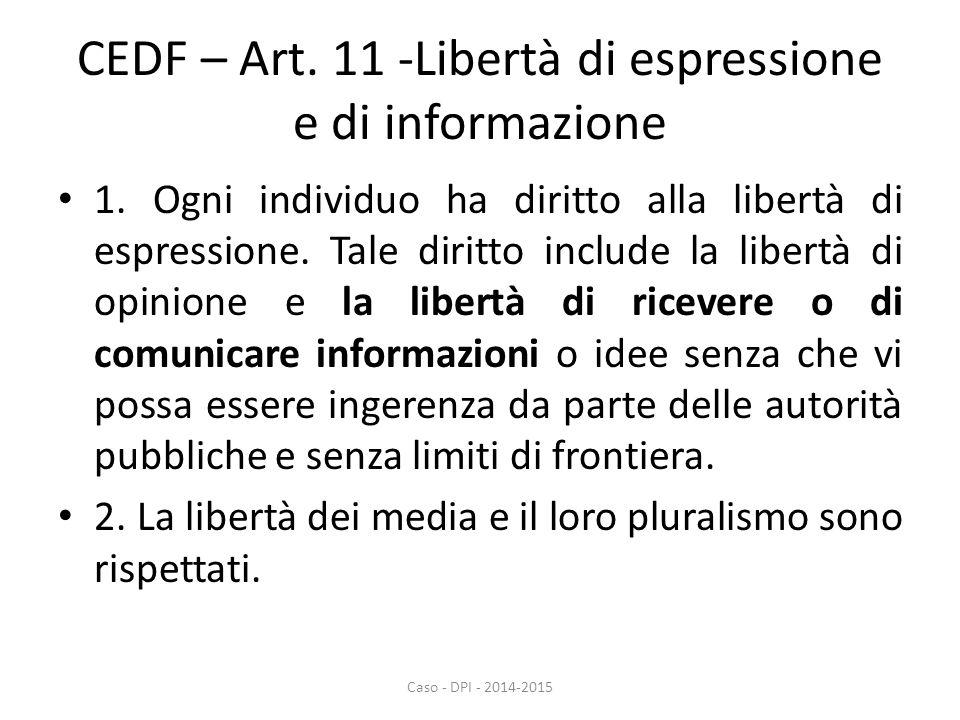 CEDF – Art. 11 -Libertà di espressione e di informazione 1. Ogni individuo ha diritto alla libertà di espressione. Tale diritto include la libertà di