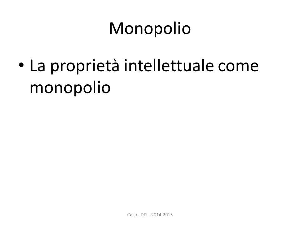 Monopolio La proprietà intellettuale come monopolio Caso - DPI - 2014-2015