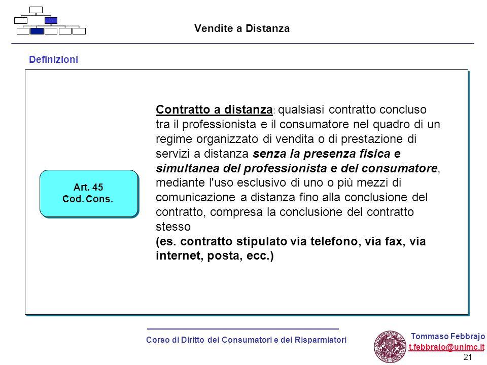 21 Corso di Diritto dei Consumatori e dei Risparmiatori Tommaso Febbrajo t.febbrajo@unimc.it Vendite a Distanza Definizioni Art.