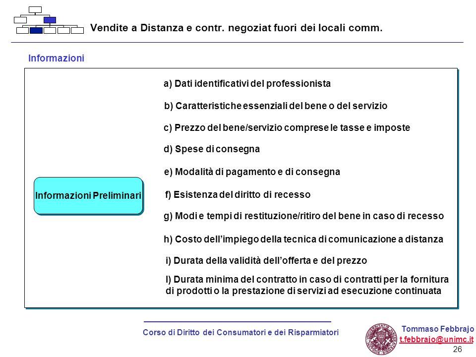26 Corso di Diritto dei Consumatori e dei Risparmiatori Tommaso Febbrajo t.febbrajo@unimc.it Vendite a Distanza e contr.