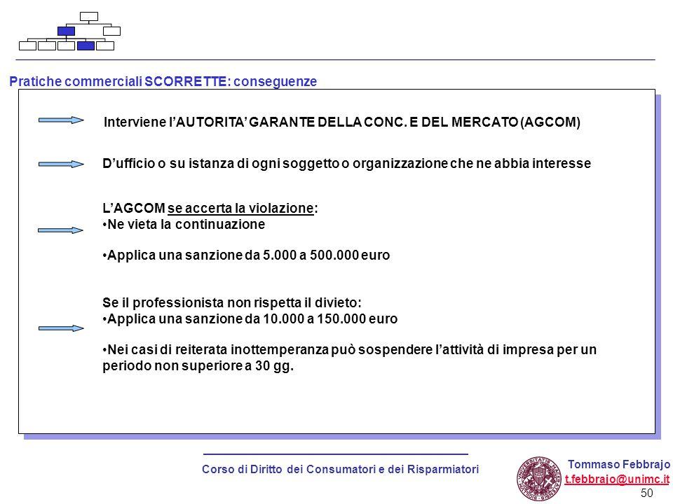 50 Corso di Diritto dei Consumatori e dei Risparmiatori Tommaso Febbrajo t.febbrajo@unimc.it Pratiche commerciali SCORRETTE: conseguenze Interviene l'AUTORITA' GARANTE DELLA CONC.