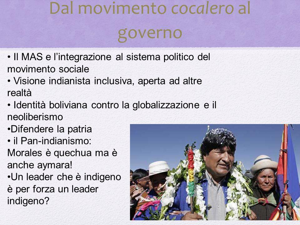 Dal movimento cocalero al governo Il MAS e l'integrazione al sistema politico del movimento sociale Visione indianista inclusiva, aperta ad altre realtà Identità boliviana contro la globalizzazione e il neoliberismo Difendere la patria il Pan-indianismo: Morales è quechua ma è anche aymara.