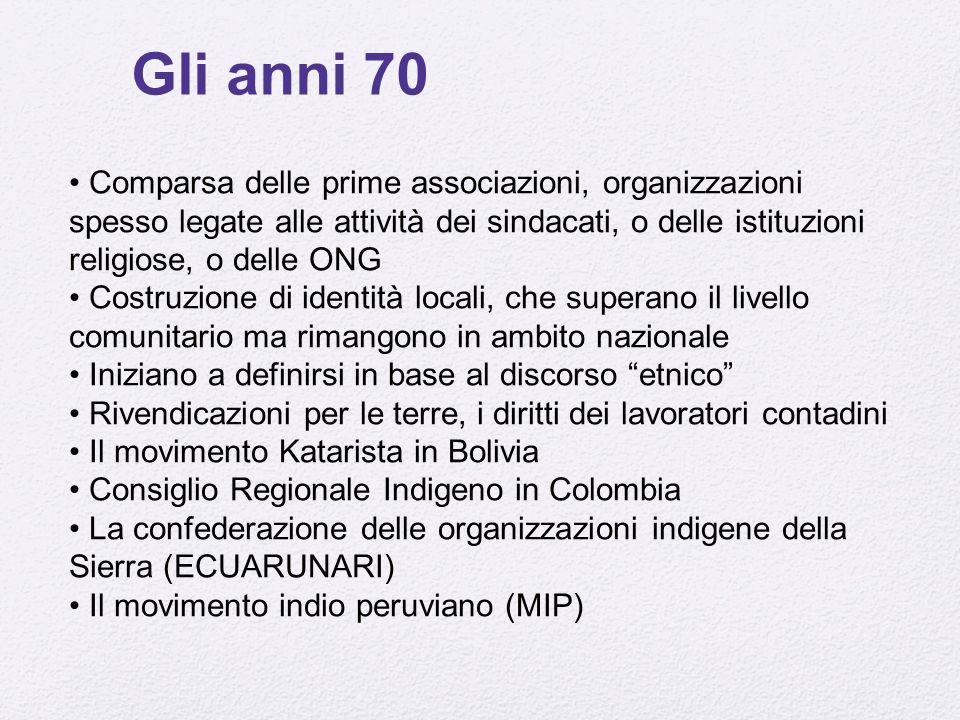 Gli anni 70 Comparsa delle prime associazioni, organizzazioni spesso legate alle attività dei sindacati, o delle istituzioni religiose, o delle ONG Co