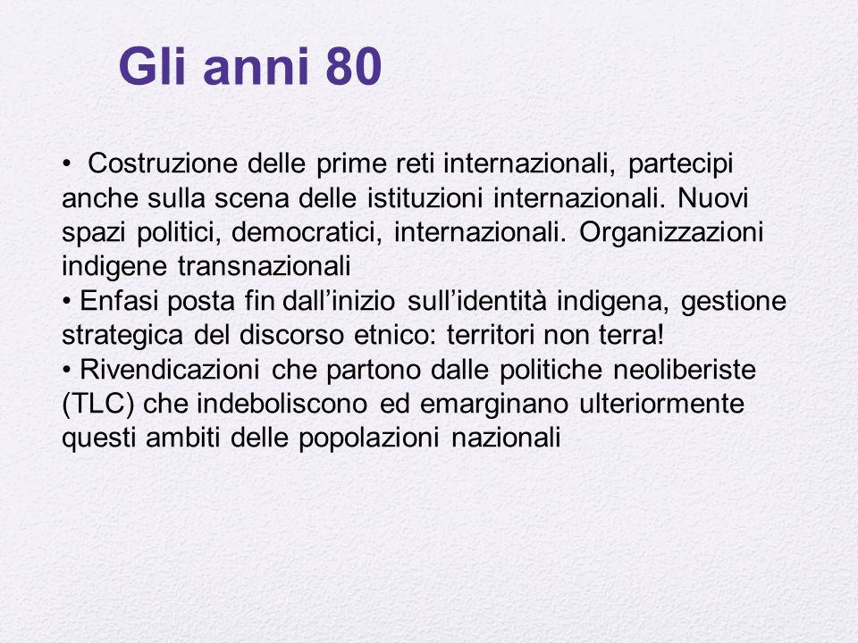 Gli anni 80 Costruzione delle prime reti internazionali, partecipi anche sulla scena delle istituzioni internazionali.