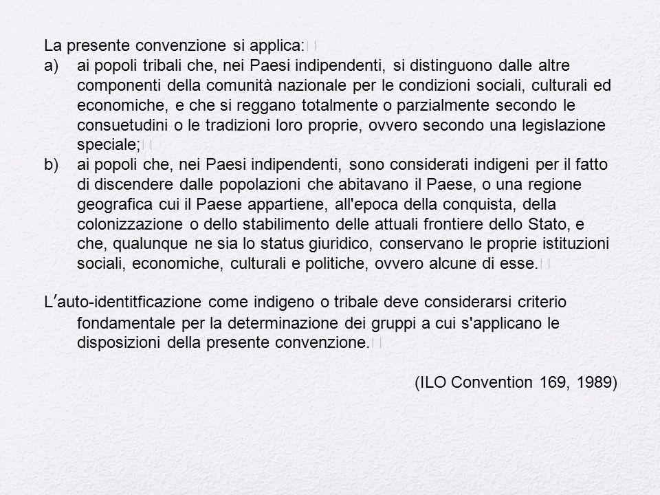 La presente convenzione si applica: a)ai popoli tribali che, nei Paesi indipendenti, si distinguono dalle altre componenti della comunità nazionale pe