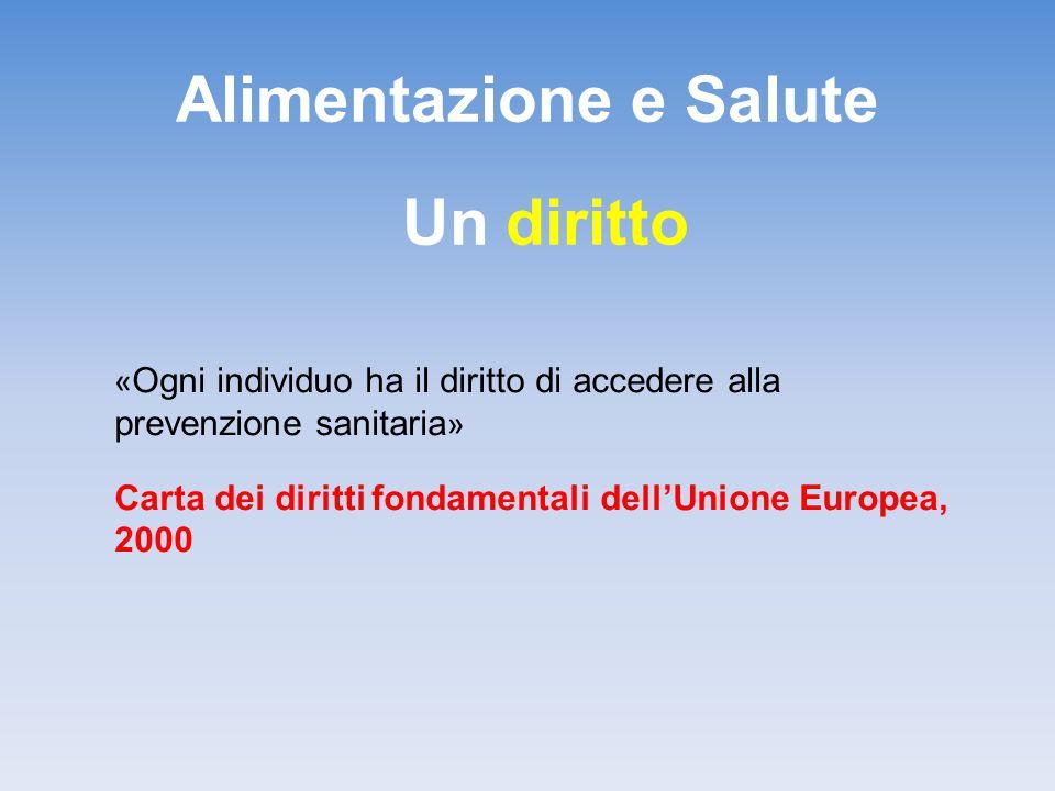Alimentazione e Salute Un diritto « Ogni individuo ha il diritto di accedere alla prevenzione sanitaria » Carta dei diritti fondamentali dell'Unione E
