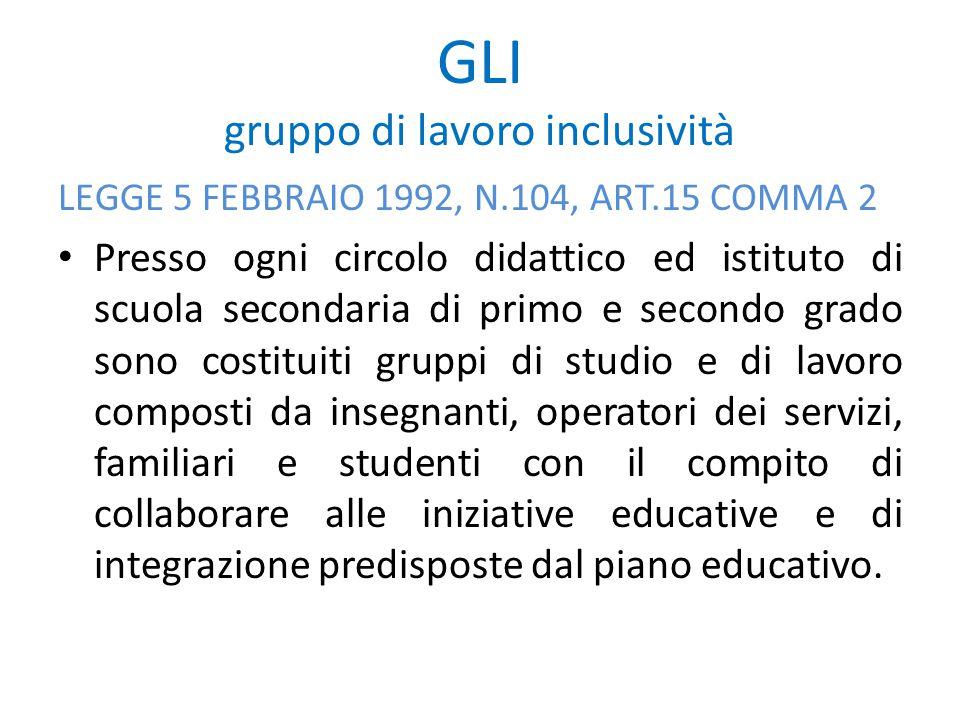 GLI gruppo di lavoro inclusività LEGGE 5 FEBBRAIO 1992, N.104, ART.15 COMMA 2 Presso ogni circolo didattico ed istituto di scuola secondaria di primo