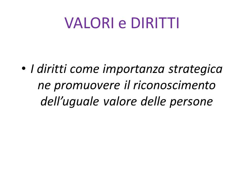 VALORI e DIRITTI I diritti come importanza strategica ne promuovere il riconoscimento dell'uguale valore delle persone