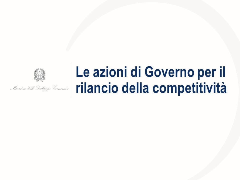 Le azioni di Governo per il rilancio della competitività