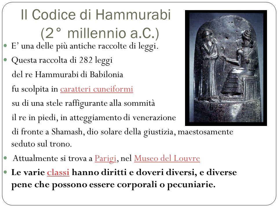 Il Codice di Hammurabi (2° millennio a.C.) E' una delle più antiche raccolte di leggi. Questa raccolta di 282 leggi del re Hammurabi di Babilonia fu s