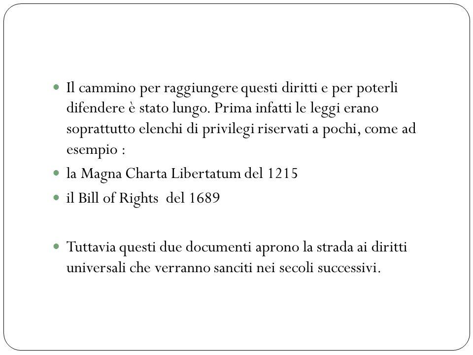 In GB nel 1215 Giovanni Senzaterra concede la MAGNA Charta Libertatum in cui si afferma il diritto alla libertà personale Successivamente nel XVII secolo Guglielmo III emana il Bill of Right che prevedeva: La libertà di parola e discussione in Parlamento.