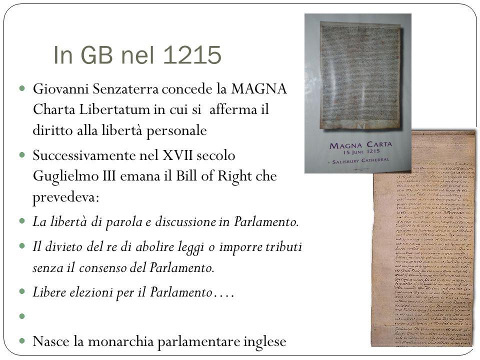 In GB nel 1215 Giovanni Senzaterra concede la MAGNA Charta Libertatum in cui si afferma il diritto alla libertà personale Successivamente nel XVII sec