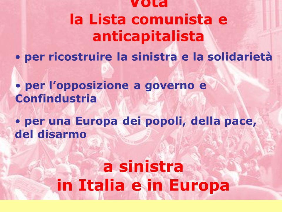 Vota la Lista comunista e anticapitalista per ricostruire la sinistra e la solidarietà per l'opposizione a governo e Confindustria per una Europa dei popoli, della pace, del disarmo a sinistra in Italia e in Europa