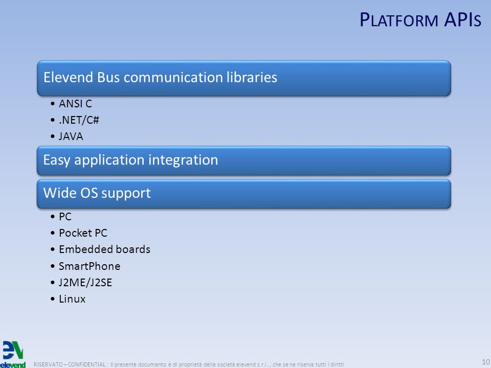 P LATFORM API S RISERVATO – CONFIDENTIAL : Il presente documento è di proprietà della società elevend s.r.l.., che se ne riserva tutti i diritti 10 Elevend Bus communication libraries ANSI C.NET/C# JAVA Easy application integrationWide OS support PC Pocket PC Embedded boards SmartPhone J2ME/J2SE Linux