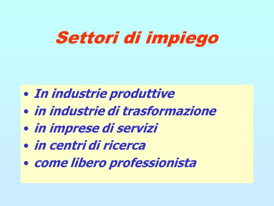 Settori di impiego In industrie produttive in industrie di trasformazione in imprese di servizi in centri di ricerca come libero professionista