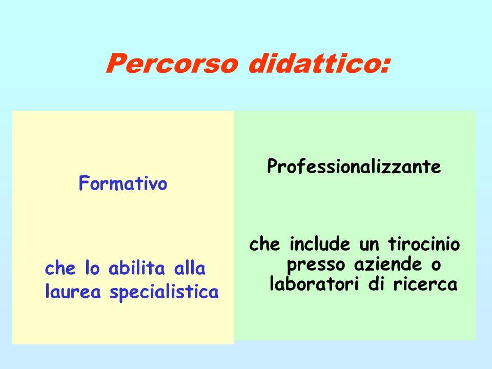 Percorso didattico: Formativo che lo abilita alla laurea specialistica Professionalizzante che include un tirocinio presso aziende o laboratori di ric