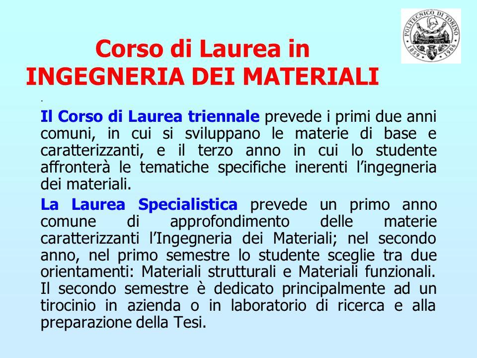 Corso di Laurea in INGEGNERIA DEI MATERIALI. Il Corso di Laurea triennale prevede i primi due anni comuni, in cui si sviluppano le materie di base e c
