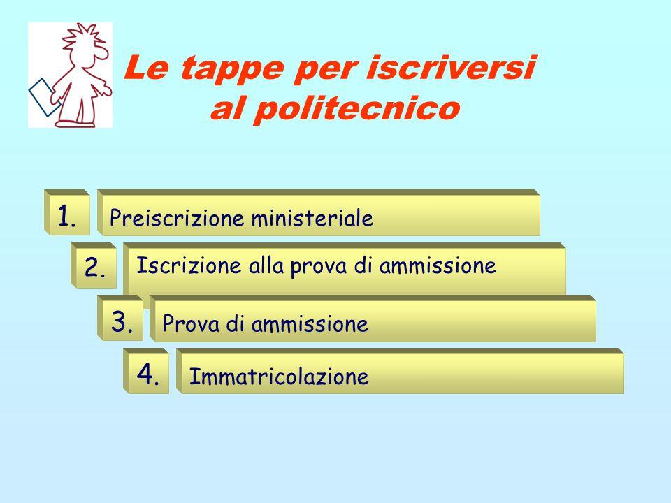 Le tappe per iscriversi al politecnico Preiscrizione ministeriale 1. Iscrizione alla prova di ammissione 2. Prova di ammissione 3. Immatricolazione 4.