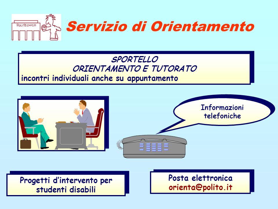 Servizio di Orientamento Progetti d'intervento per studenti disabili Posta elettronica orienta@polito.it Informazioni telefoniche SPORTELLO ORIENTAMEN