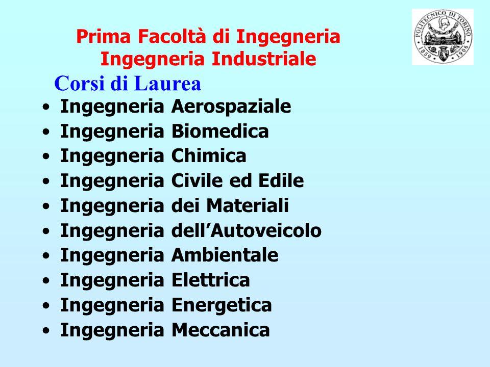 Prima Facoltà di Ingegneria Ingegneria Industriale Ingegneria Aerospaziale Ingegneria Biomedica Ingegneria Chimica Ingegneria Civile ed Edile Ingegner