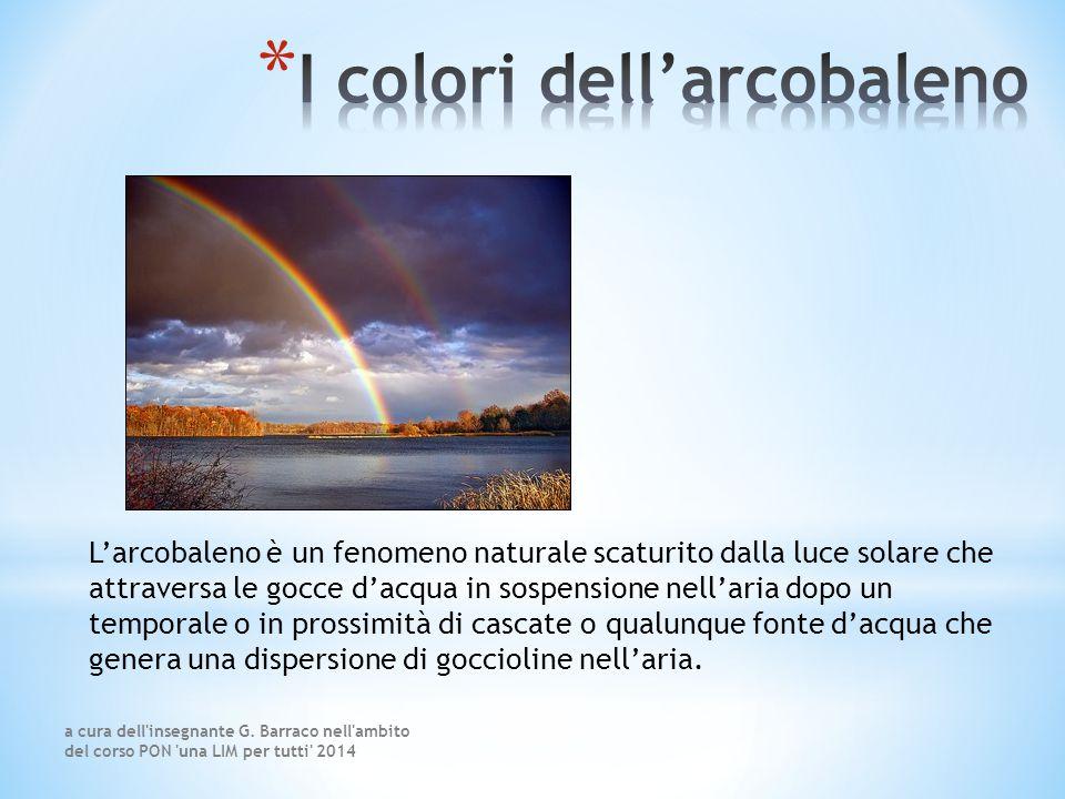 L'arcobaleno è un fenomeno naturale scaturito dalla luce solare che attraversa le gocce d'acqua in sospensione nell'aria dopo un temporale o in prossimità di cascate o qualunque fonte d'acqua che genera una dispersione di goccioline nell'aria.