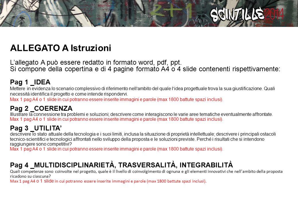 ALLEGATO A Istruzioni L'allegato A può essere redatto in formato word, pdf, ppt.