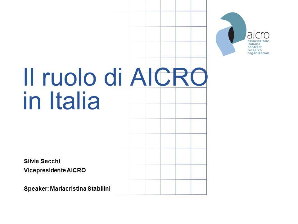 Il ruolo di AICRO in Italia Silvia Sacchi Vicepresidente AICRO Speaker: Mariacristina Stabilini